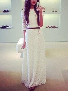 White Round Neck Hollow Lace Maxi Dress