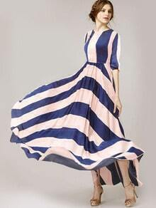 Blue White Round Neck Striped Maxi Dress