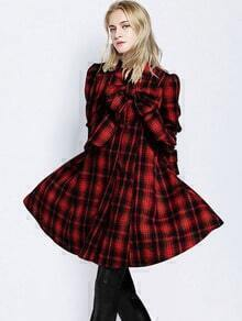 Red Black Stand Collar Plaid Bow Coat