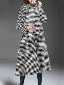 Black White Shawl Collar Houndstooth Pockets Woolen Coat
