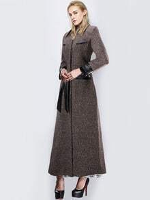 Khaki Lapel Belt Woolen Trench Coat