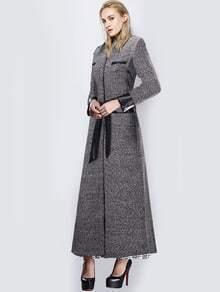 Black Lapel Belt Woolen Trench Coat