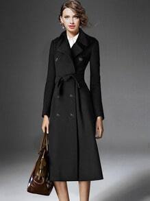Black Lapel Double Breasted Belt Trench Coat