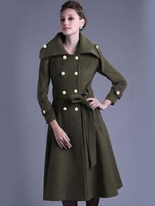 Army Green Lapel Double Breasted Woolen Coat
