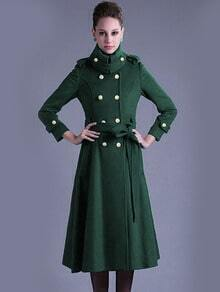 Dark Green Lapel Double Breasted Woolen Coat