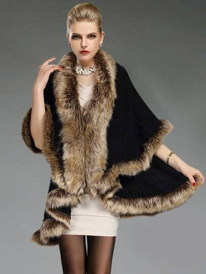Black Contrast Faux Fur Woolen Cape Coat pictures