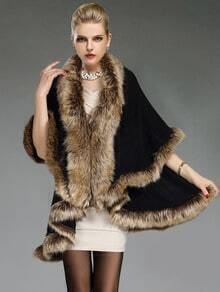 Black Contrast Faux Fur Woolen Cape Coat