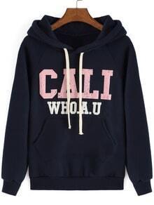 Navy Hooded Letters Print Sweatshirt