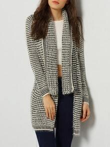Grey Long Sleeve Lapel Knit Cardigan