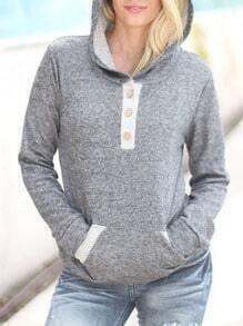 Grey Hooded Long Sleeve Buttons Sweatshirt