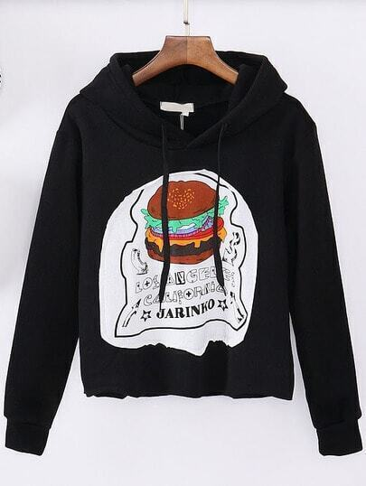 Black Hooded Hamburger Print Crop Sweatshirt