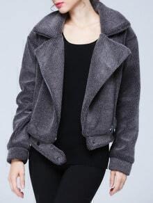 Grey Lapel Faux Fur Crop Coat