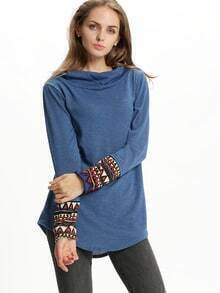 Blue Hooded Long Sleeve Slim T-Shirt