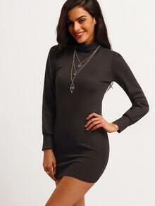 Black High Neck Slim Bodycon Dress
