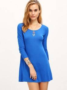 Blue Long Sleeve Straight Loose Dress