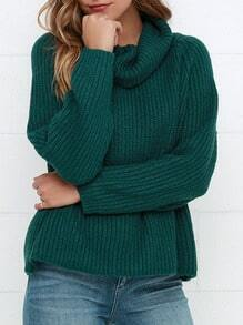 Green High Neck Loose Knit Sweater