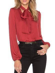 Red Tie-neck Long Sleeve Loose Blouse