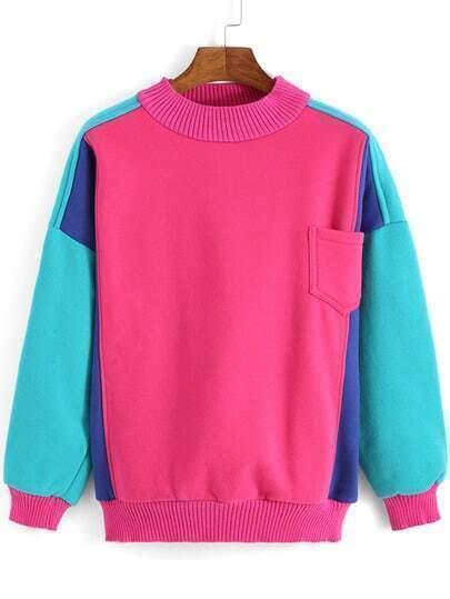 Multicolor Long Sleeve Pocket Loose Sweatshirt