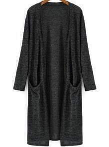 Dark Grey Long Sleeve Pockets Cardigan