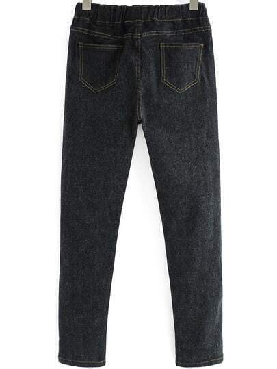 jeans mit gummibund schwarz german shein sheinside. Black Bedroom Furniture Sets. Home Design Ideas