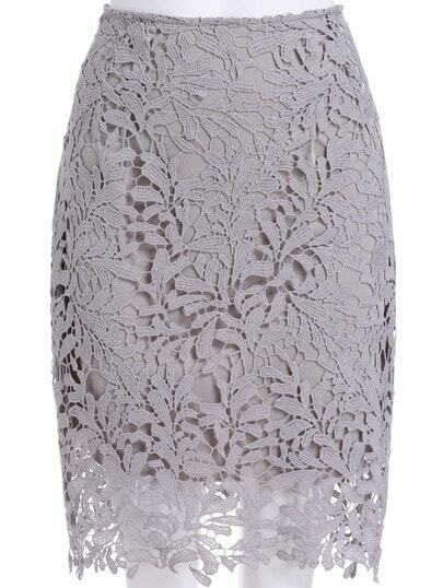 Grey Floral Crochet Lace Skirt