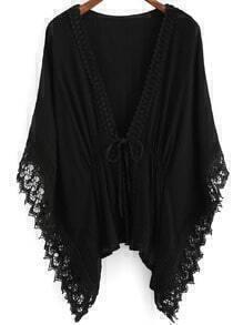 Black V Neck Batwing Lace Kimono