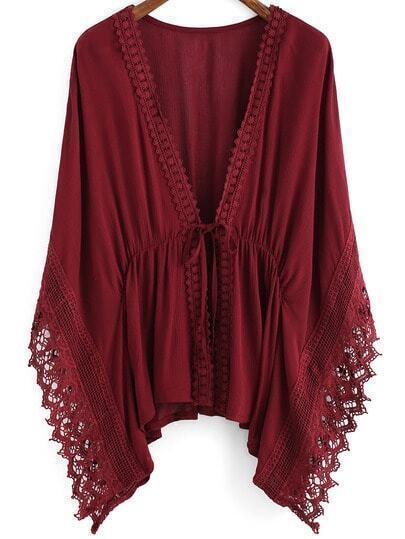 Burgundy V Neck Batwing Lace Kimono