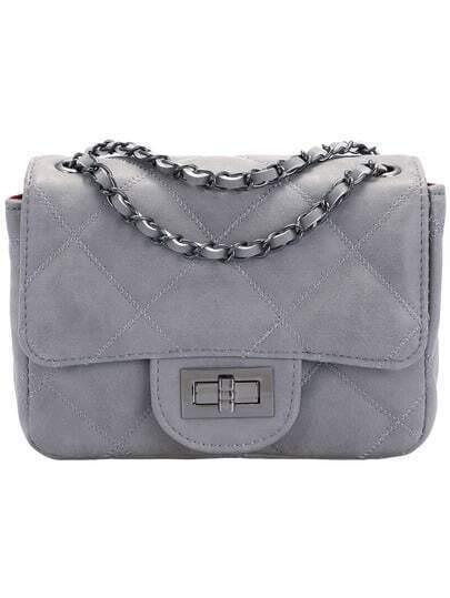 Grey Diamond Patterned PU Shoulder Bag