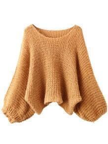 Khaki Round Neck Lantern Sleeve Crop Sweater