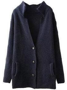 Navy Long Sleeve Buttons Knit Sweater Coat