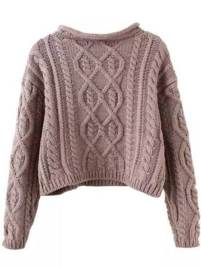 Khaki Mock Neck Cable Knit Crop Sweater