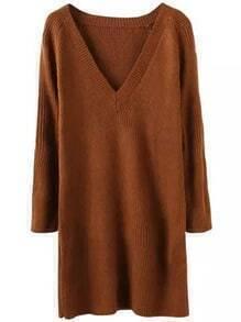 Khaki V Neck Long Sleeve Knit Sweater Dress