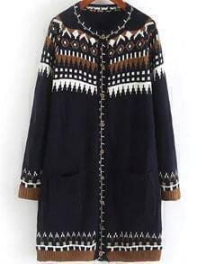 Black Long Sleeve Geometric Print Pockets Sweater Coat
