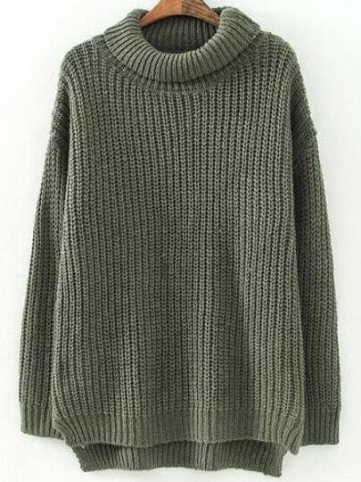 Green High Neck Long Sleeve Loose Sweater