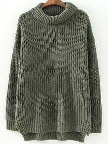 Green High Neck Long Sleeve Loose Sweater