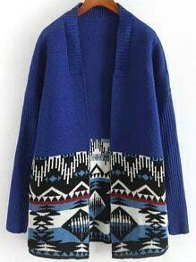 Blue Long Sleeve Geometric Print Cardigan