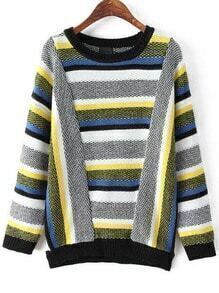 Multicolor Round Neck Striped Knit Sweater