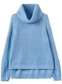 Blue High Neck Dip Hem Knit Sweater