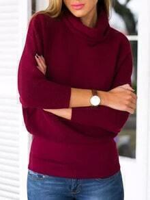 Burgundy High Neck Crop Knit Sweater