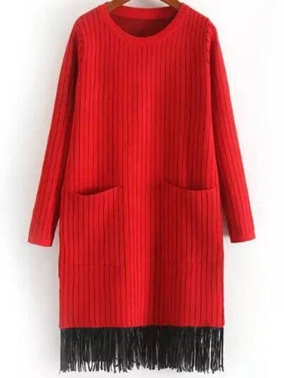 Red Round Neck Vertical Stripe Tassel Knit Dress