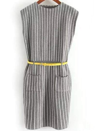 Knitting Vertical Stripes In The Round : Grey round neck vertical stripe knit dress shein sheinside