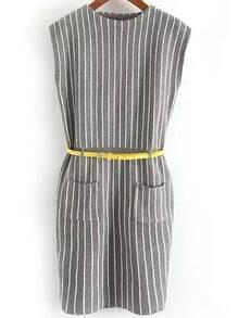 Grey Round Neck Vertical Stripe Knit Dress