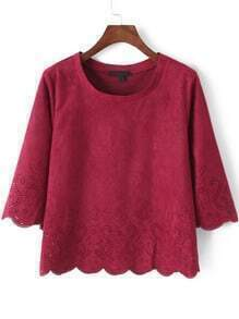 Red Round Neck Hollow Scalloped Crop Top