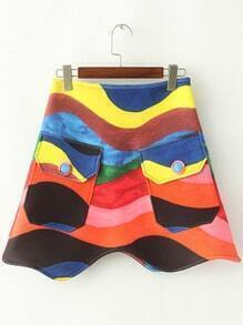 Multicolor Pockets Zipper Skirt