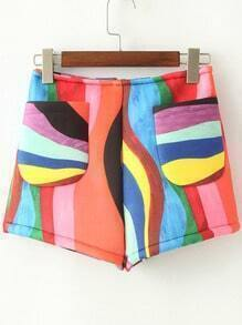 Multicolor Pockets Rainbow Print Shorts