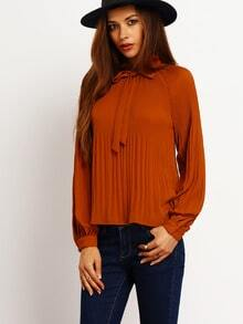 Coffee Long Sleeve Ruffle Blouse