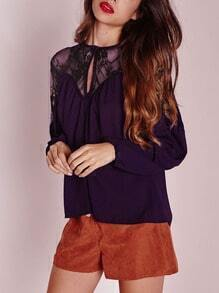 Purple Long Sleeve With Lace Blouse