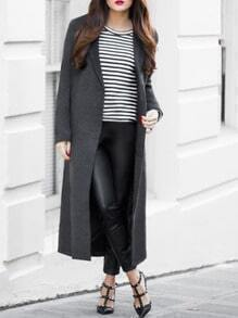 Grey Long Sleeve Lapel Coat
