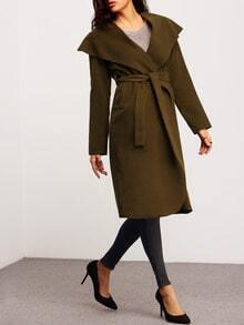 Green Long Sleeve Lapel Coat