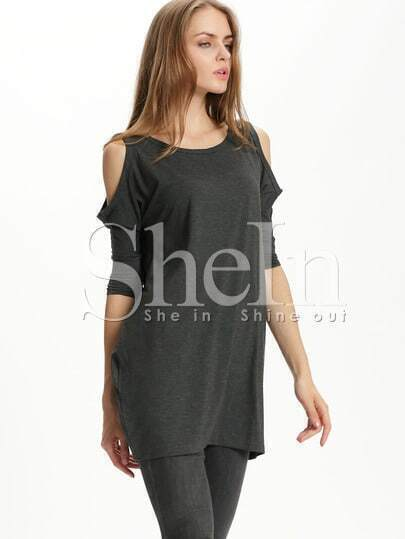Grey Round Neck Cold Shoulder Dress